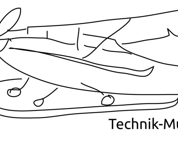 Eine Zeichnung von einem Flugzeug und einer Frau. /Quelle: gender2technik
