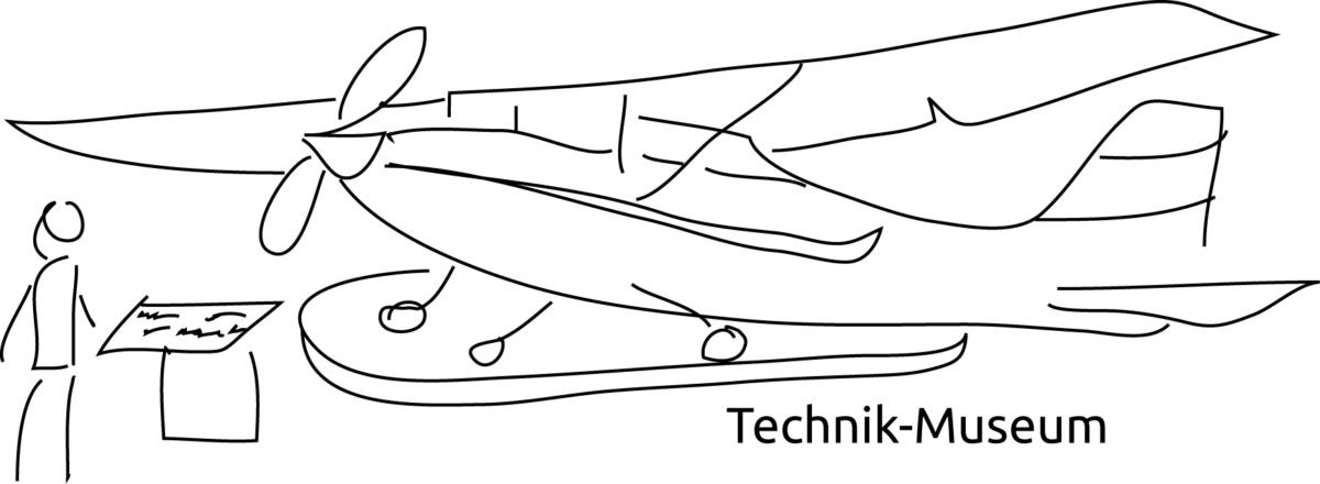Eine Zeichnung von einem Flugzeug und einer Frau. Bild: gender2technik