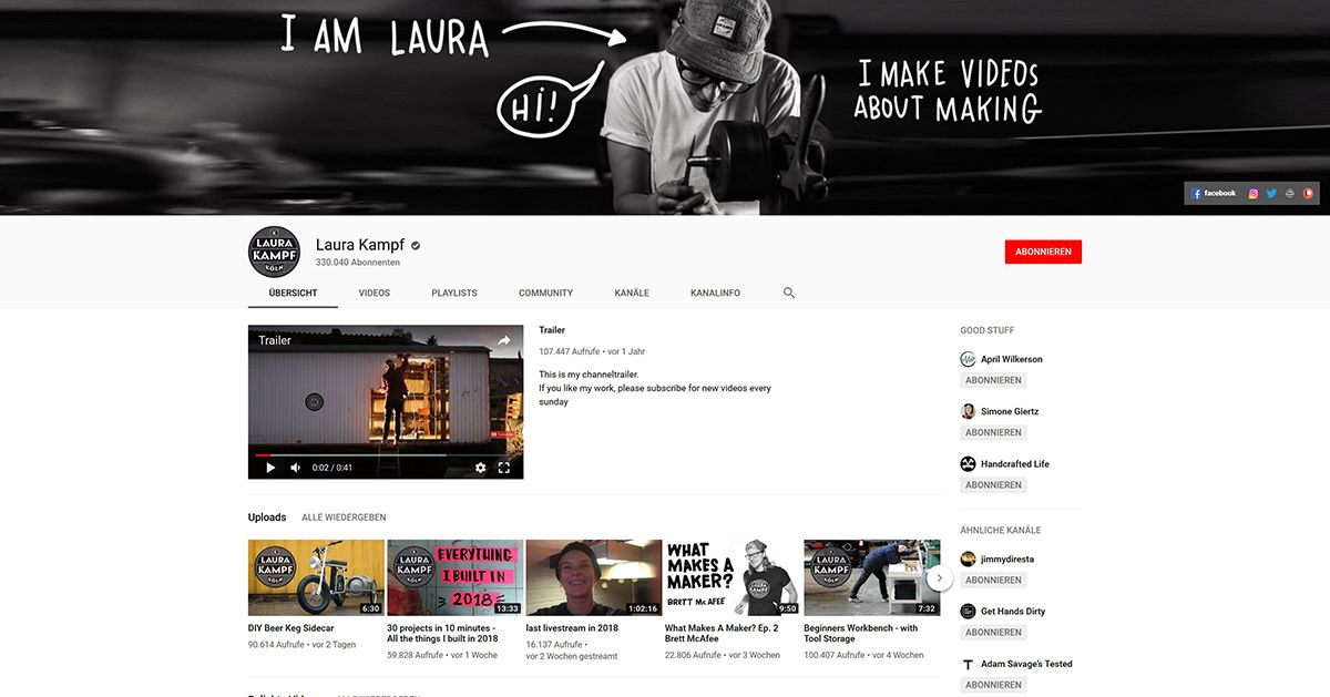Ein Screenshot von Laura Kampfs Youtube-Account. /Bildquelle: Youtube, Laura Kampf