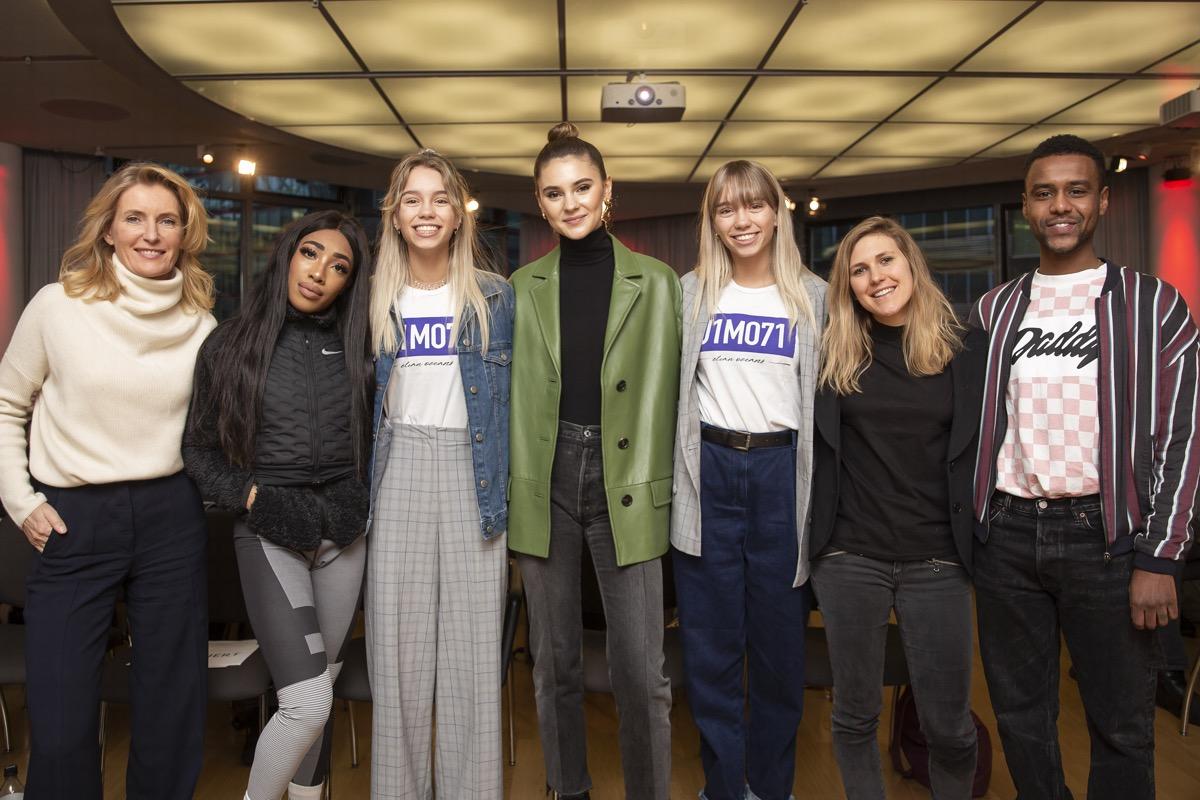 Ein Gruppenfoto mit Maria Furtwängler, Rapperin Eunique, Stefanie Giesinger sowie den Zwillingen Lisa und Lena, Lisa Furtwängler und Netzaktivist Tarik Tesfu