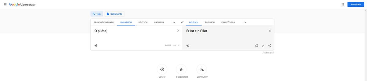 "Google Translator übersetzt ""Ő pilóta"". /Quelle: Google and the Google logo are registered trademarks of Google LLC, used with permission."