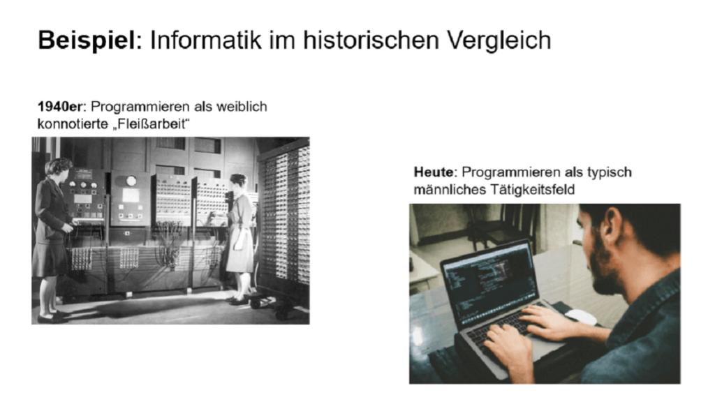 Auf einer Powerpoint-Folie sind zwei Abbildungen zum Thema Informatik zu sehen: einmal zwei Frauen an einem großen Rechner, einmal an Mann an einem Laptop.