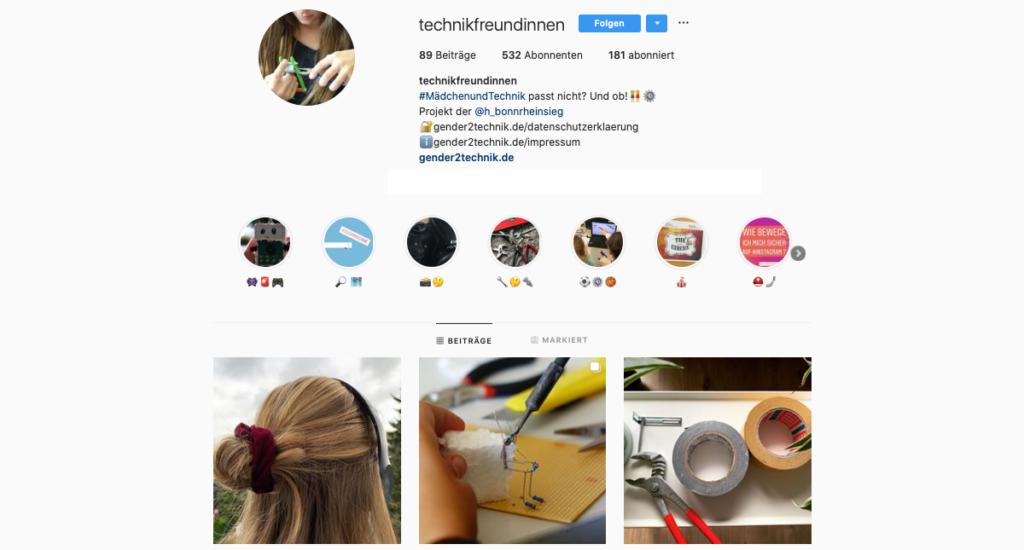 """Ein Screenshot des Instagram-Accounts """"technikfreundinnen"""""""